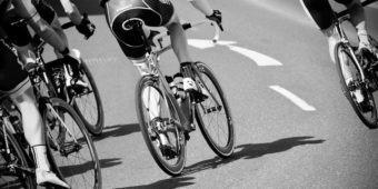 Cyclist cycling along a road